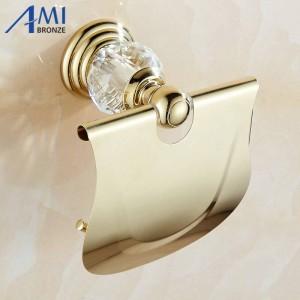 61 Crystal Series Golden Polish Brass Mit Kristallpapierhaltern An der Wand befestigtes Badezimmerzubehör Hardwares Paper Rack Shelf