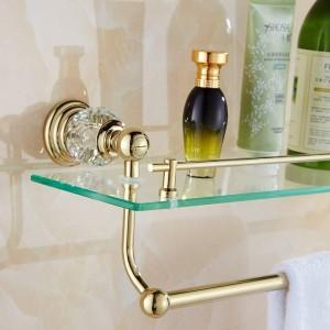 61 Crystal Series Goldene, polierte Badregale Badaccessoires Handtuchhalter Handtuchhalter & Haken Mit Glasauflage