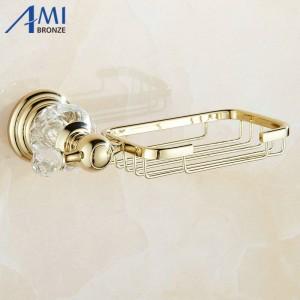 61 Crystal Series Gold Messing poliert Kristall Seifenschalenhalter Soap Network Badezimmerzubehör Geschirr Seifenablage
