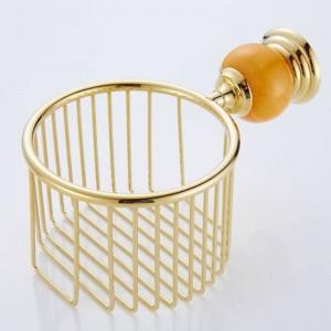62 Jade-Serie Goldene polnische Messing- und Jade-Papierhalter Wandmontiertes Badezimmerzubehör Rundes Papierkorb-Badezimmerregal