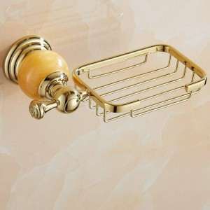 62 Jade Series Golden Polished Brass Jade Base Seifenschalenhalter Soap Network Badzubehör Soap Shelf WC Eitelkeit