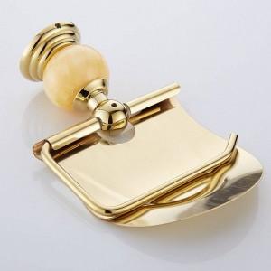 62 Jade-Serie Gold Messing poliert mit Jade-Toilettenpapierhalter Badezimmerzubehör Papierregal Toilettenpapierhalter