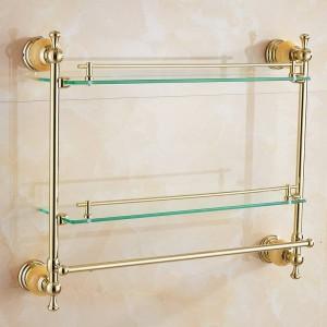 62 Jade Series Golden Polished Double Badezimmer Regale Badzubehör Handtuchhalter & Haken Mit Glas-Dressing Regal