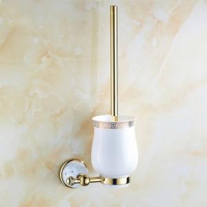 Goldene polnische Toilettenbürstenhalter der 63GD-Serie mit Badezimmerzubehörhardware aus massivem Messing mit Diamant-Waschtisch