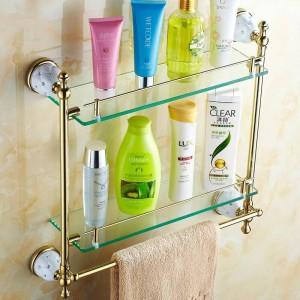 63GD Serie Golden polierte Badezimmerregale mit Diamant-Handtuchhalter Handtuchhalter & Haken mit Glasablage