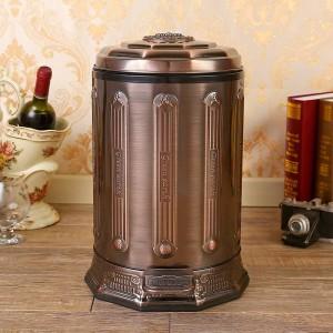 6L Edelstahl antik Mülleimer Haushaltsmülleimer mit Deckel Bronze Mülleimer für Home Office Küche Bad schwarz