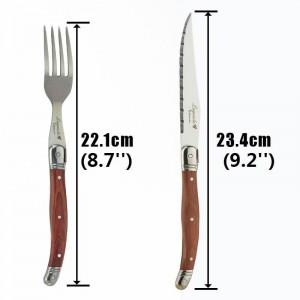 6 stücke Laguiole Steak Messer Gabel set Edelstahl Japanisches Besteck Holz Abendessen Messer und Gabeln Holzgriff Geschirr sets