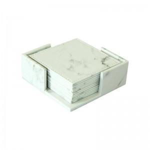6 teile / satz Marmor Druck PU Untersetzer Moderne Tasse Matte Kaffee Untersetzer Tasse Matten Pads Weiß Desktop Rutschfeste Pad Tischdekoration