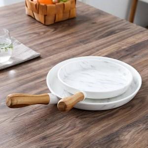 8 und 10 Zoll Holzgriff Marmor Teller Dish Set Dessert Teller Geschirr Cake Dish Dessert Tablett