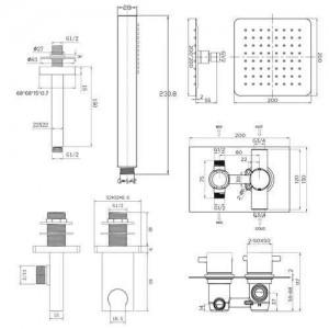 "8 ""Deckenquadrat Thermostat Dusche Ultra Thin Head Badezimmer Chrom Ventil Set"