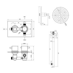 """8 """"Runde LED-Thermostat-Dusche-Kit Modernes Bad Unterputz-Set"""