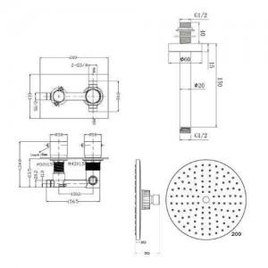 """8 """"Rundmischer-Duschdecken-Thermostat-Chrom-Ventil-Badezimmer-Set"""