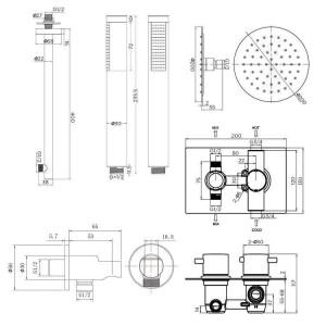 """8 """"ultradünne runde Mischer-Thermostat-Duschkopf-Set mit Badezimmer-Ventil-Chrom-Handkopf"""