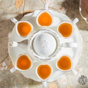 8 STÜCKE Keramik-Teeservice im europäischen Stil Bone-Teeservice mit Tablett Englischer Nachmittagstee Früchtetee und Blumentee