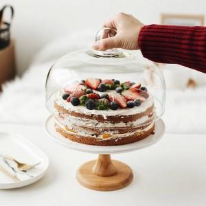 9 '' Keramik Kompott Tortenständer Dekoratives Porzellan Dessert Tablett Glasdeckel Serviergeschirr Utensil für Geburtstag und Hochzeit