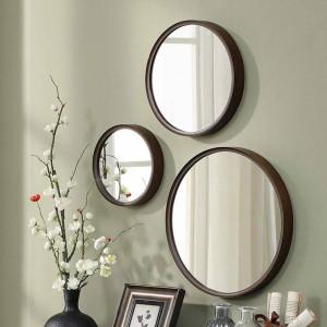 A1 1pack stil holz runde badezimmerspiegel wandbehang schlafzimmer spiegel schminktisch dekoration kosmetikspiegel wx8231340
