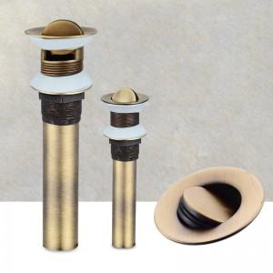 Antike Bronze Waschbecken Presse Pop Up Ablaufstopfen Abfall Montage Wasserüberlauf oder Nichtüberlauf