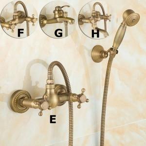 Antike Messing gebürstet Badarmaturen Wandmontage Waschbecken Mischbatterie Kran Mit Handbrause Bad & Dusche Wasserhahn