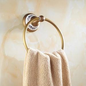 AP1 Serie Antik Messing Handtuchring Porzellansockel Wandmontage Badzubehör Handtuchregal Handtuchhalter