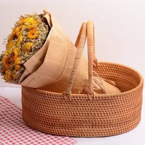 Handgemachter Rattanfruchtkorb-Wohnzimmerausgang des Herbstrattans tragbarer Ablagekorb