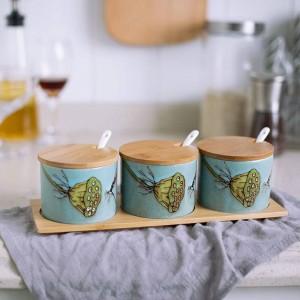 Bambus Keramik Gewürz handbemalt Keramik Vogel Gewürzdosen Soßentopf Set Salz Pfefferstreuer Gewürz Kochen Küchenwerkzeug