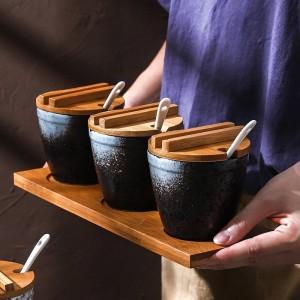 Bambus Holz Keramik Gewürz Fassform Gewürzdosen Soßentopf Set Salz Pfefferstreuer Gewürzsprays Kochen Küchenwerkzeug