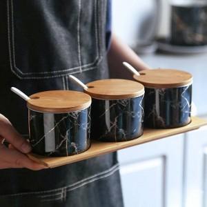 Bambus Holz Keramik Gewürzmarmor Gewürzdosen Soßentopf Set Salz Pfefferstreuer Gewürzsprays Kochen Küchenwerkzeug