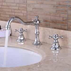 Waschbecken Wasserhahn Chrom Farbe massivem Messing Wasserhahn antiken europäischen Waschtischmischer Doppelgriff Deck Waschbecken Mischbatterie XR8223