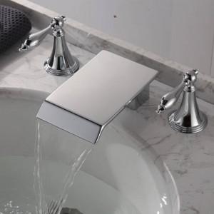 Becken Wasserhahn Doppelgriff Badezimmer Schwarz / Chrom Wasserfall Wasserhahn drei Loch Waschtischmischer heißes und kaltes Wasser Waschhahn XR8236