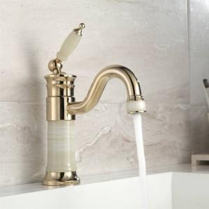 Becken Wasserhahn Messing Jade Körper mit Marmorbecken Wasserhahn Einhand Gold Finish Becken Waschbecken Bad Kran XT616