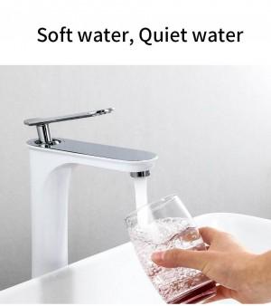 Becken Wasserhahn weiß lackiert Bad Waschbecken Mischbatterie Bad Wasserhahn heiß und kalt Messing Waschbecken Wasserkran schwarz 855612WL