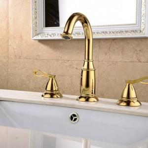 Waschtischarmaturen Messing Goldene 3 Löcher Doppelgriff Waschbecken Wasserhahn Luxus Waschbecken Badewanne Wasserhähne Heiß Kalt Mischer Wasser XR8220