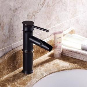 Waschtischarmaturen Messing Öl Eingerieben Bronze Bambus Wasserfall Waschbecken Wasserhahn Deck Waschbecken Schwarz Mischer Wasserhahn SY-326R