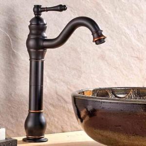 Waschtischarmaturen Messing Öl Eingerieben Bronze Europäischen Waschbecken Wasserhahn 1 Hebel Loch Arbeitsplatte Deck Heiß Kalt Mxier Wasserhähne 9201