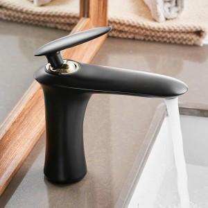 Waschtischarmaturen Elegante Badarmatur Warmes und kaltes Wasser Waschtischmischbatterie Messing verchromt Waschbecken Wasserkran Gold 855735