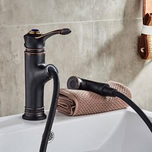 Waschtischarmaturen Herausziehen Gold Waschbecken Kran Kupfer Waschbecken WC Mischbatterien Warmen und Kalten Deck Montiert Bad Wasserhahn LAD-18043