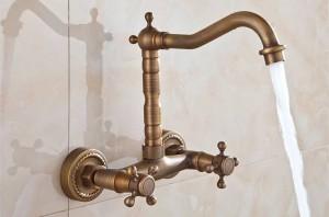 bad becken küchenspüle mischbatterie drehbar wasserhahn antike bronze mode stil wand 9058a