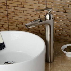 Badezimmer Kran Wasserfall Waschbecken Wasserhahn hoch Waschbecken Waschtischmischer schwarz / Nickel Waschbecken Wasserhahn Mischbatterie Waschbecken Wasserhahn LAD-412