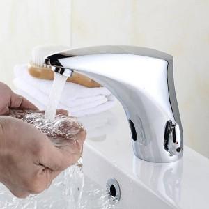 Bad Wasserhahn Elektrische Automatische Sensor Wasserhahn Berührungslose Küchenspüle Becken Batterieleistung Heißes Und Kaltes Wasser Mischbatterien 8910