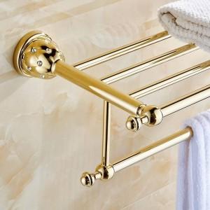 Badezimmer Regale 2 Tier Massivem Messing Gold Handtuchhalter Bad Regal Handtuchhalter Aufhänger Wand Luxus Home Deco Handtuchhalter 5212
