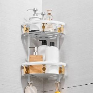 Badezimmer Regale Aluminium 2 Ebenen Eckregal Dusche Caddy Lagerung Shampoo Korb Wand Küche Ecke Klebriger Halter 811015