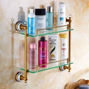 Badezimmer Regale Doppel Gehärtetes Glas Regal Massivem Messing Goldene Dusche Rack Wandhalterung Bad Shampoo Kosmetische Lagerung Inhaber 6314