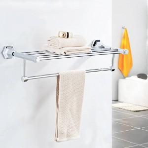 Bad Regale hochwertige Wandmontage schwarz verchromt Handtuchhalter Halter Kleiderbügel Badetuch Kleidung Ablageboden 93012