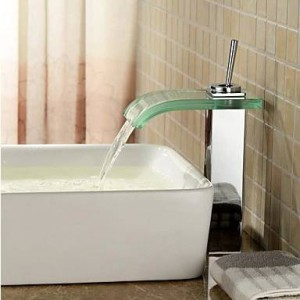 Waschbecken Mischbatterie Messing verchromt Quadrat Schwarz Glas Wasserfall Wasserhahn BF038