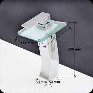 Waschbecken Mischbatterie Messing verchromt quadratischen Glas Wasserfall Wasserhahn BF040