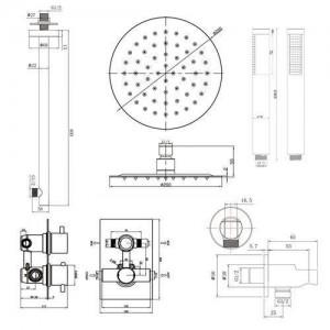 Bad-Thermostat-Brausekopf-Set (Chrom-Thermostat-Mischventil + Handbrause)