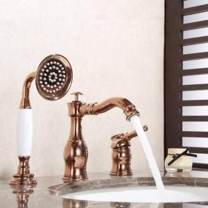 Badewanne Wasserhahn Messing Schwarz Deck Waschbecken Wasserhahn Set 3 STÜCKE Keramik Handwaschbecken Mischbatterie 2 wege aus wasser XR8213