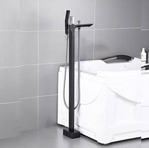 Badewanne Wasserhahn Messing Schwarz Bodenmontage Bad Wasserhahn Schwenkauslauf Einhand Wannenfüller Handbrause Sprayer Tap XT401