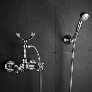 Badewanne Wasserhahn Messing Chrom Silber Wand Regen Dusche Wasserhahn Runde Handheld 2 Griff Luxus Bad Mischbatterie Set XT364