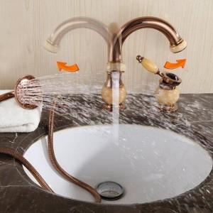 Badewanne Wasserhahn Messing Gold Deck Waschbecken Wasserhahn Set 3 STÜCKE Keramik Diamant Handbrause Waschraum Waschbecken Mischbatterie XR8212